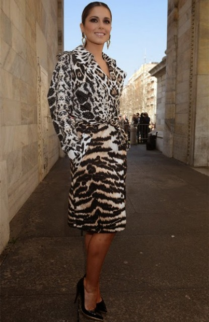 Knee-length belted animal print coat