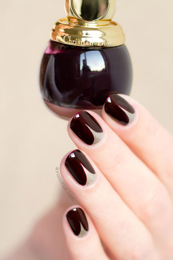 dark red manicure with a nude touch
