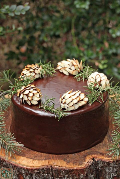 chocolate wedding cake with almond pinecones