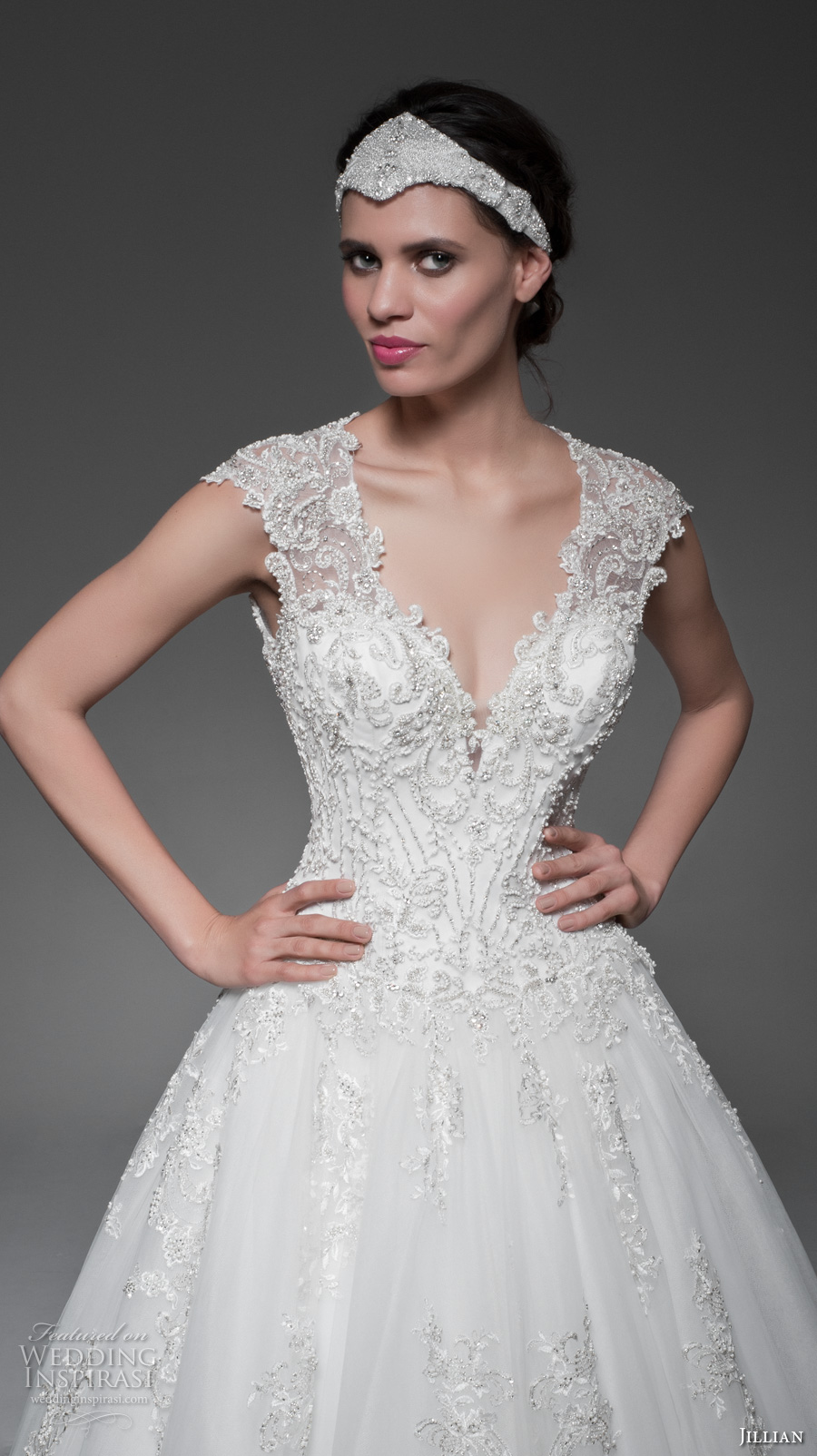 jillian 2017 bridal cap sleeves deep v neckline heavily embellished bodice gorgeous glamorous ball gown a line wedding dress keyhole back long train (mabelle) zv