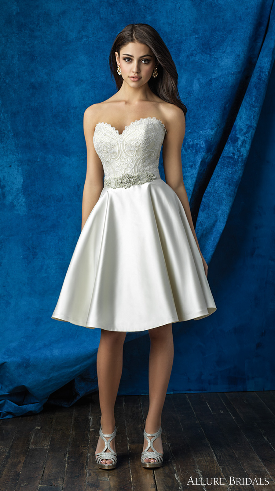 allure bridals 2016 mix match strapless scallop sweetheart neckline heavily embellished bodice satin short skirt knee length short wedding dress (a2001 top and a2006 skirt) mv