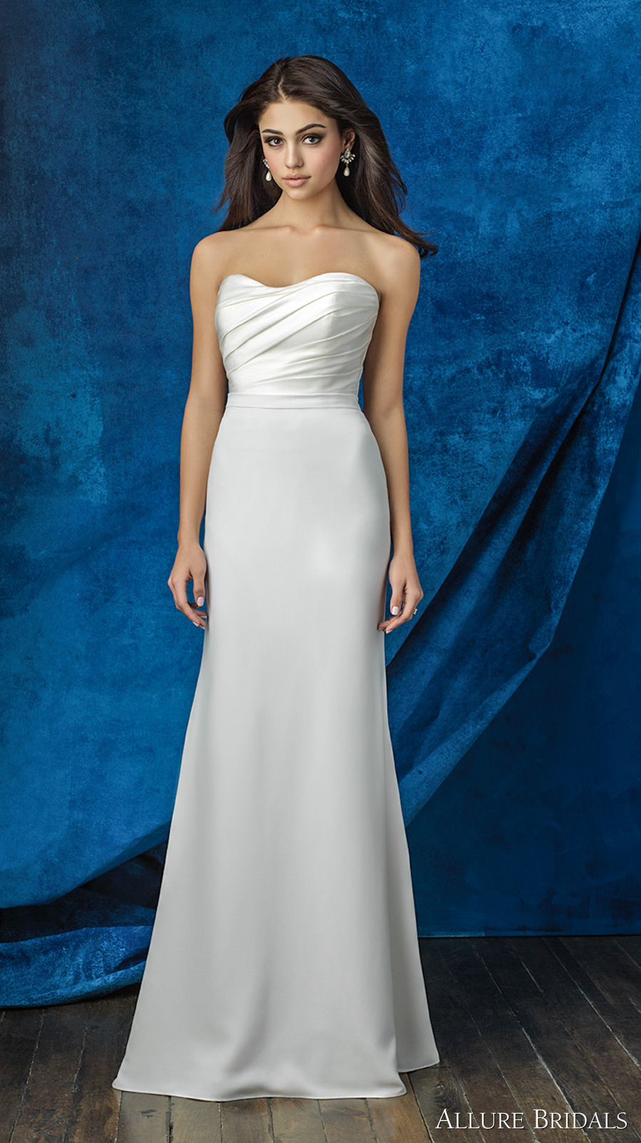 allure bridals 2016 mix match strapless sweetheart neckline satin pleated bodice simple clean classic modified a line skirt wedding dress chapel train (a2000 top and a2011 skirt) mv