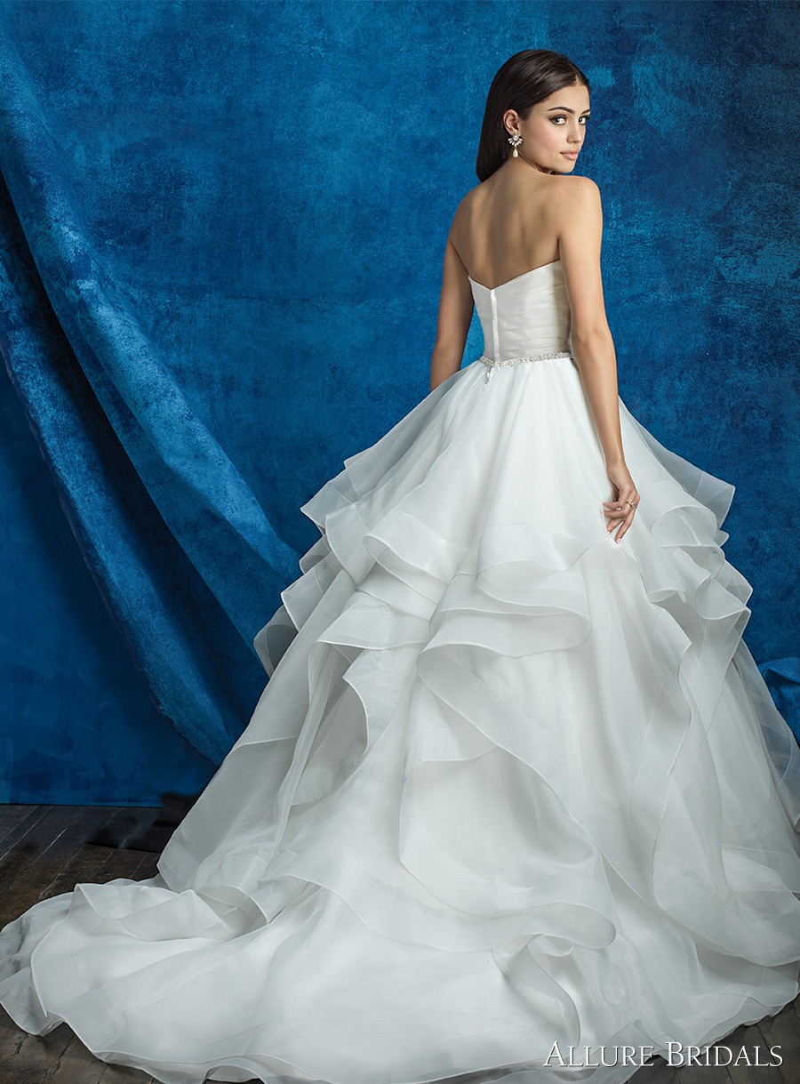 strapless sweetheart neckline satin pleated bodice simple clean princess romantic horsehair hem tiered ball gown a line wedding dress chapel train (a2000 top and a2013 skirt) bv