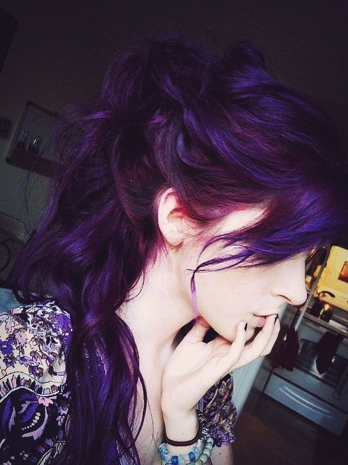lush deep purple hair with a fringe