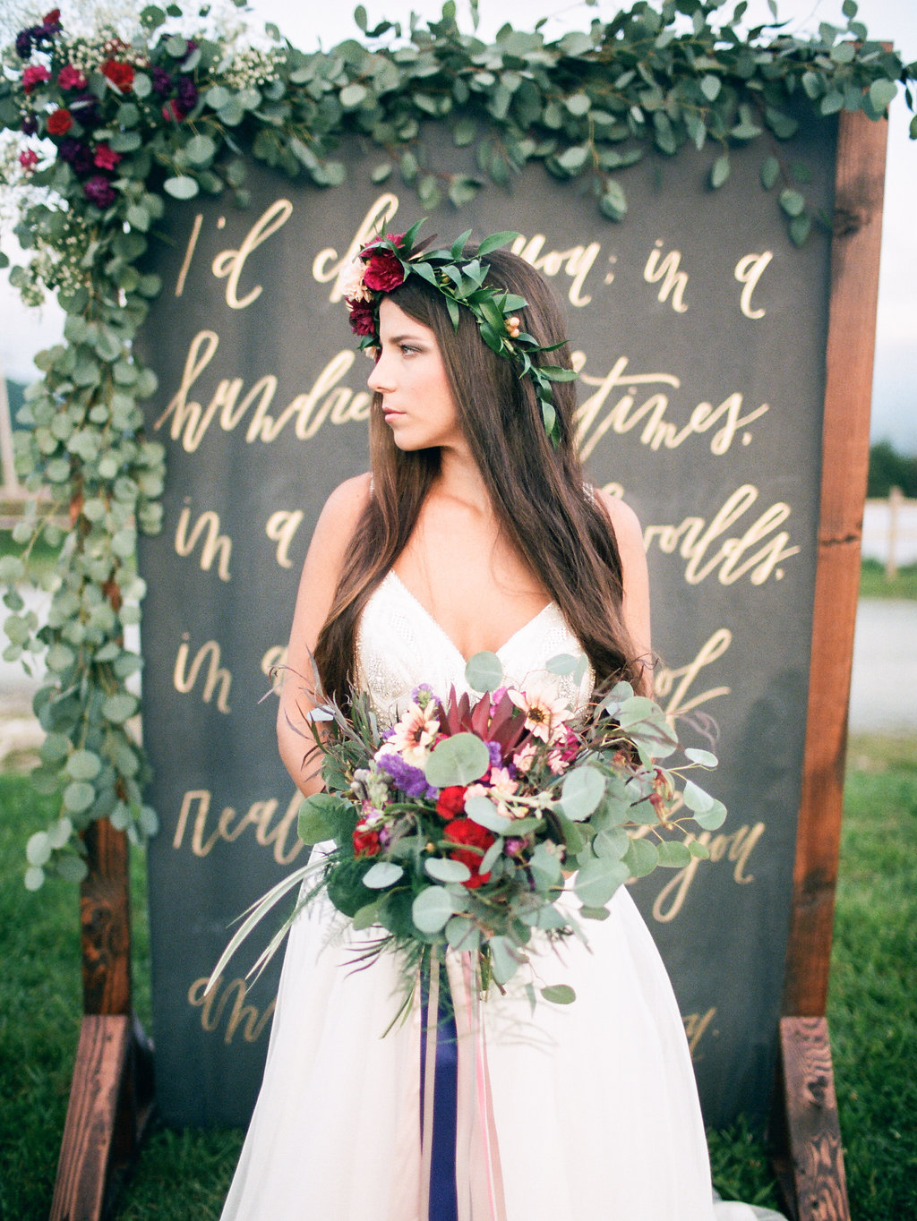 Gold and Plum Wedding Inspiration with Hayley Paige Gown - photo by Elizabeth Marie Photos http://ruffledblog.com/gold-and-plum-wedding-inspiration-with-hayley-paige-gown