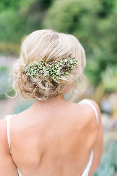 medium hair can be also styled into an updo, top it with fresh flowers