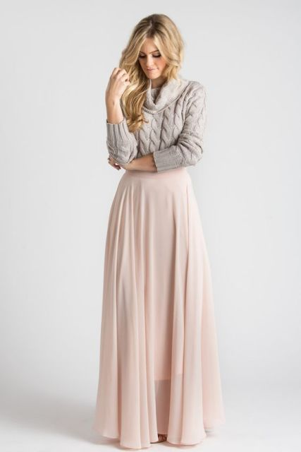 With maxi pastel color skirt