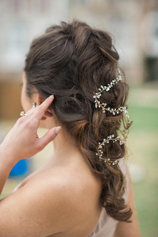 Chic updo with gem hairpiece | Joy Michelle Photography