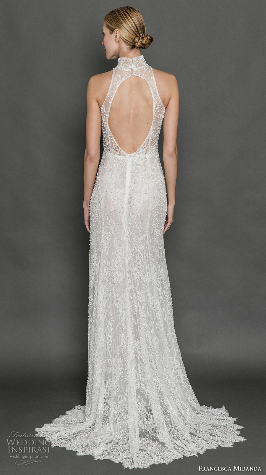 francesca miranda fall 2017 bridal sleeveless halter neck high neck full embellishment elegant sophiscated sheath wedding dress keyhole back sweep train (colette) bv