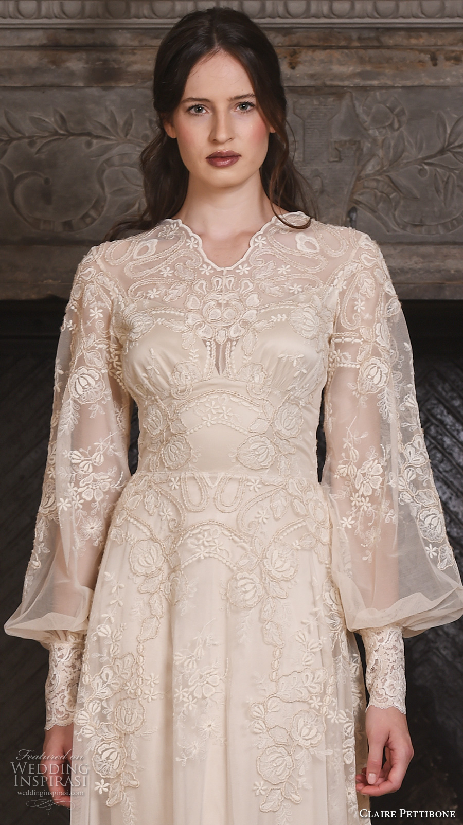 claire pettibone fall 2017 bridal long bishop sleeves small v neck full embellishment lace embroidered vintage art nouveau ivory color a line wedding dress medium train (chrysanthemum) zv