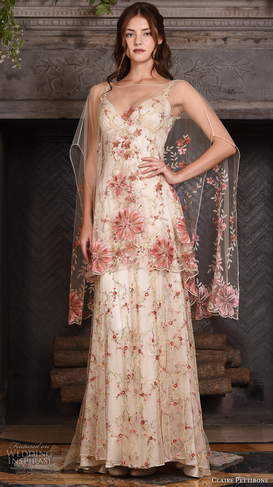 claire pettibone fall 2017 bridal sleeveless strap sweetheart neckline redfloral embroidered full embellishment vintage ivory color a line wedding dress low back sweep train (maple) mv