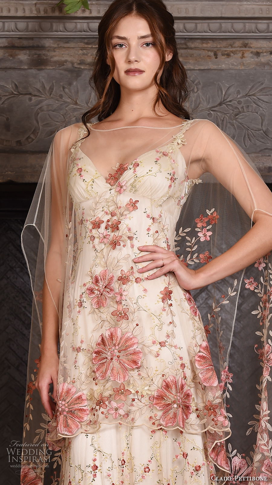 claire pettibone fall 2017 bridal sleeveless strap sweetheart neckline redfloral embroidered full embellishment vintage ivory color a line wedding dress low back sweep train (maple) zv