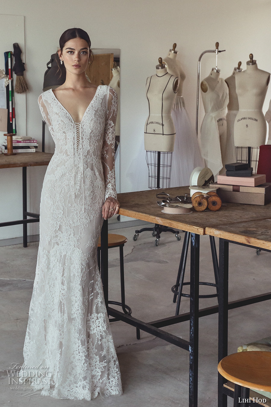 lihi hod 2017 bridal long sleeves v neck full embellishment beautiful elegant romantic trumpet mermaid wedding dress v low back sweep train (zoe) mv