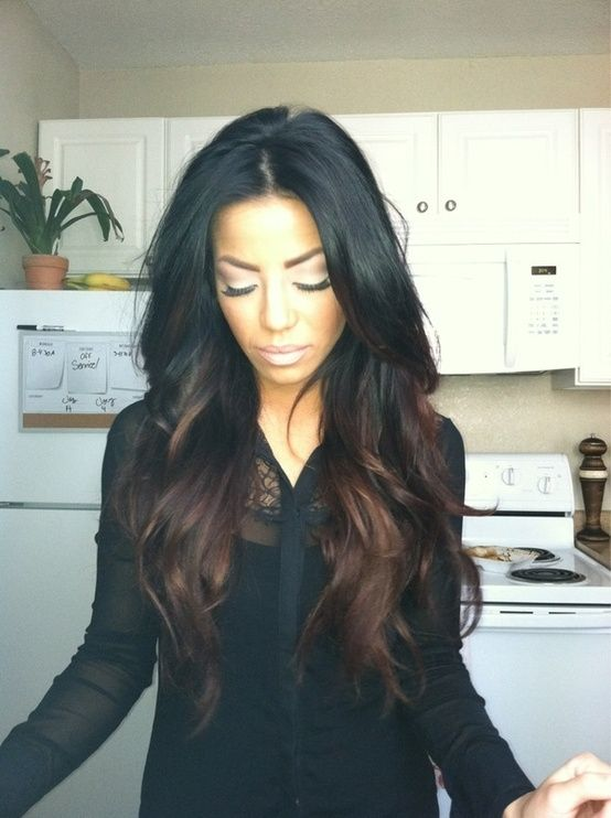 black hair with reddish brown highlights