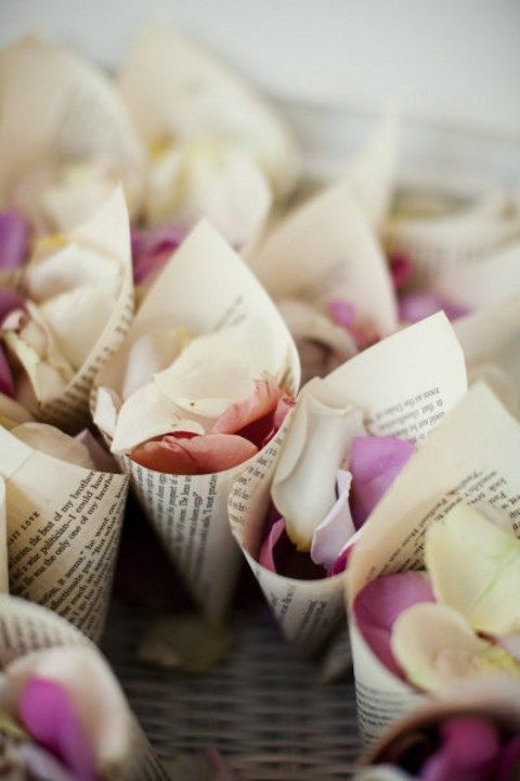 book page cones with flower petals
