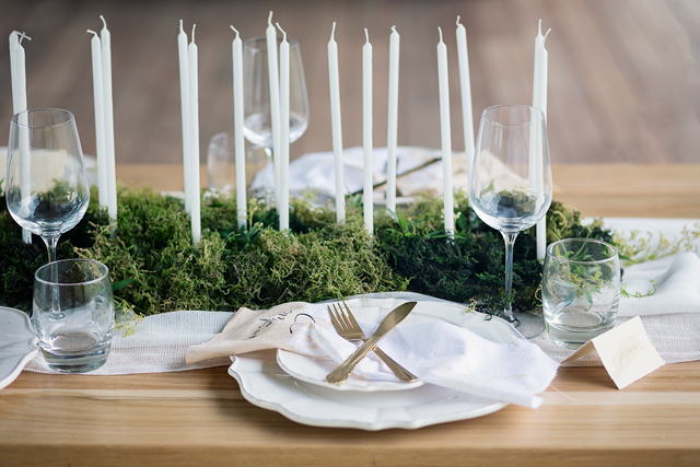 Tiny taper candle and moss centerpiece | Wild & Grace
