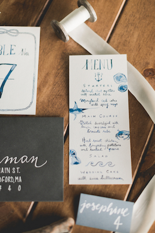 Watercolor whimsical nautical wedding invitation suite | About Time Photography