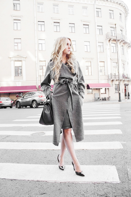 Gray coat is perfect to hide a
