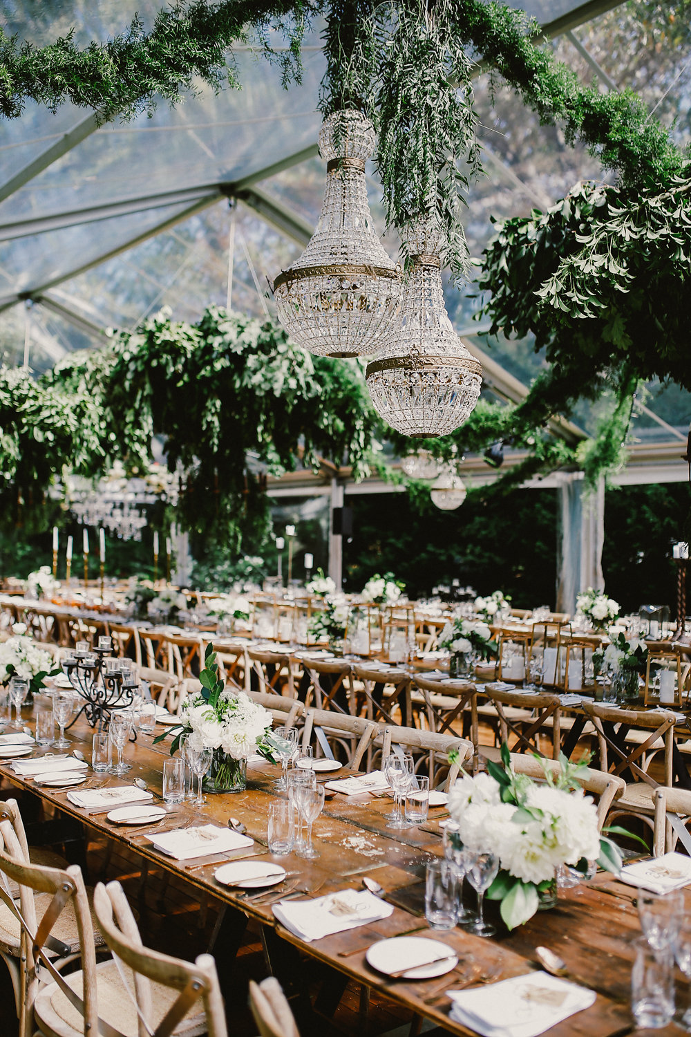 chic tented wedding reception - photo by Lara Hotz http://ruffledblog.com/secret-garden-inspired-australian-wedding
