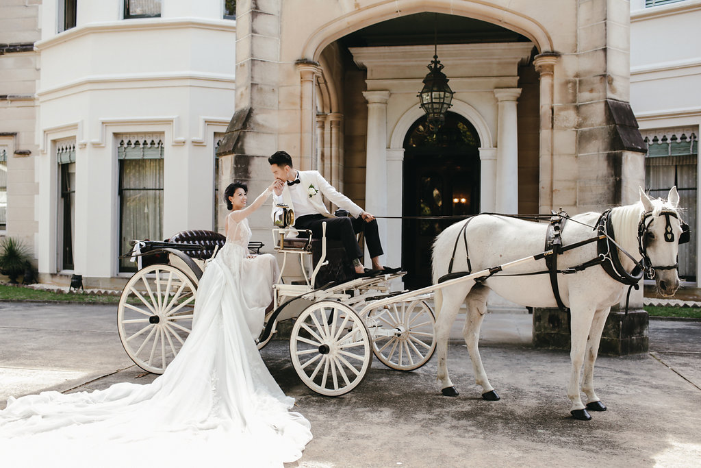 horse and carriage wedding portrait - photo by Lara Hotz http://ruffledblog.com/secret-garden-inspired-australian-wedding