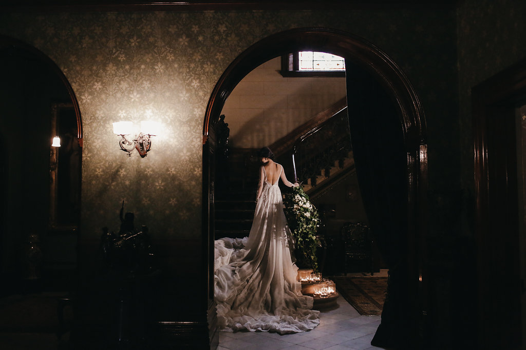 dramatic bridal portraits - photo by Lara Hotz http://ruffledblog.com/secret-garden-inspired-australian-wedding
