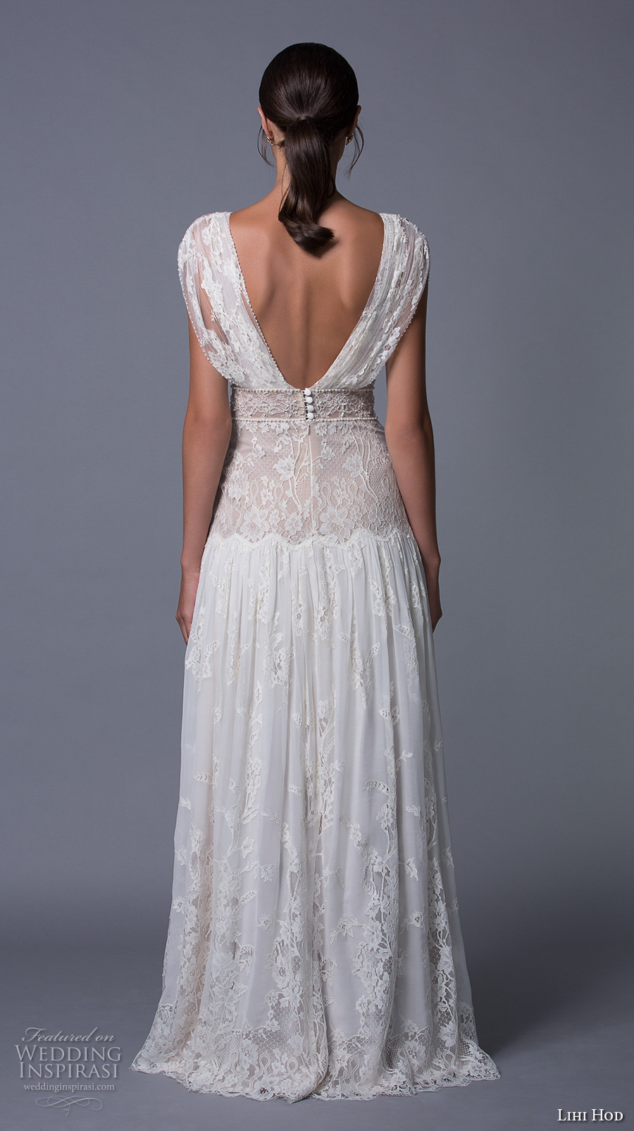 lihi hod 2017 bridal cap sleeves v back full embellishment lace vintage bohemian modified a line wedding dress v low back sweep train (alona) bv