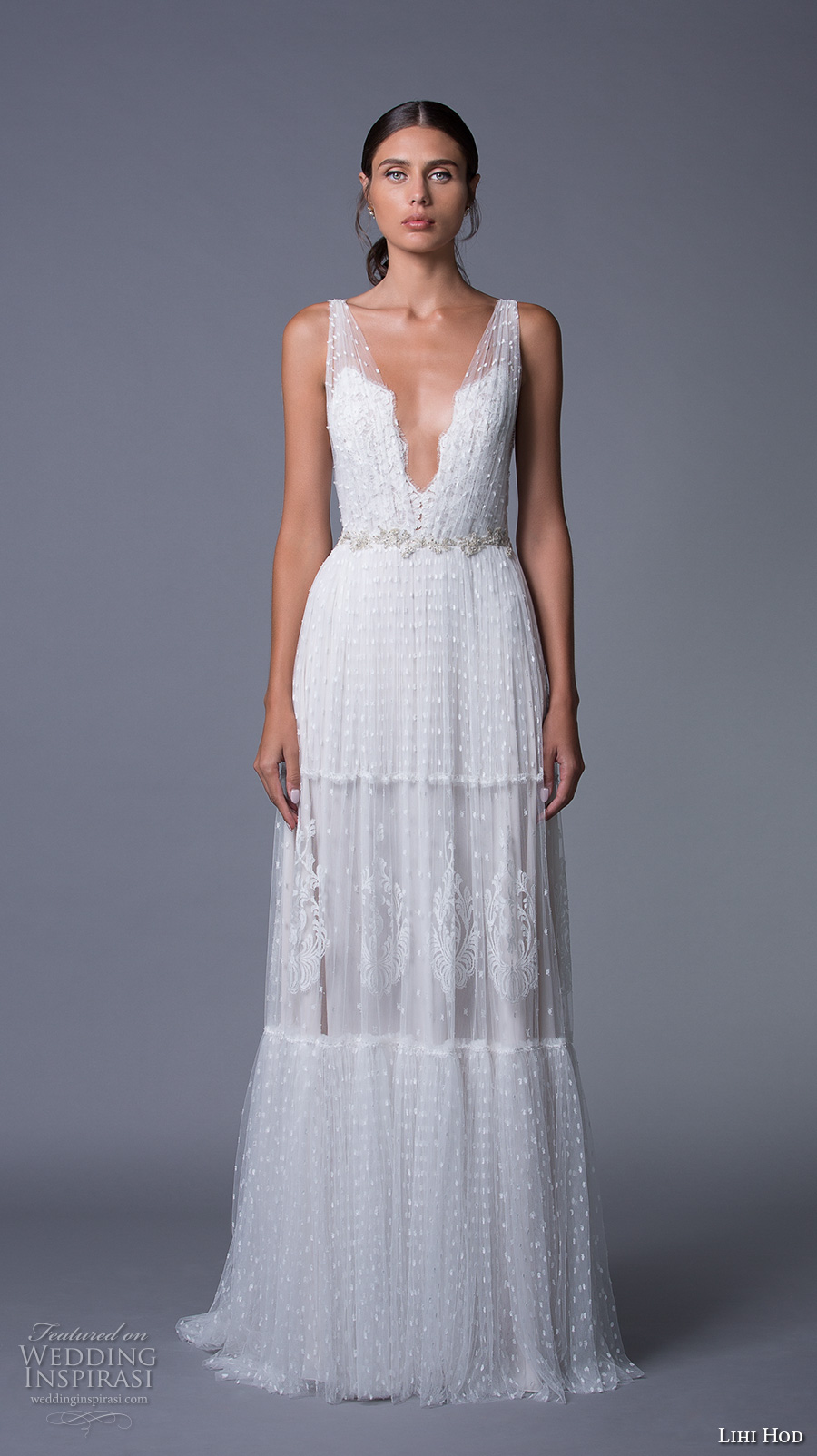 lihi hod 2017 bridal sleeveless deep plunging v neck full embellishment sexy bohemian a line wedding dress v low back sweep train (sydney) mv