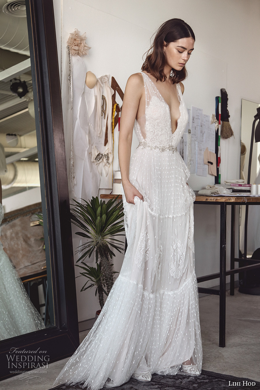 lihi hod 2017 bridal sleeveless deep plunging v neck full embellishment sexy bohemian a line wedding dress v low back sweep train (sydney) sdv mv