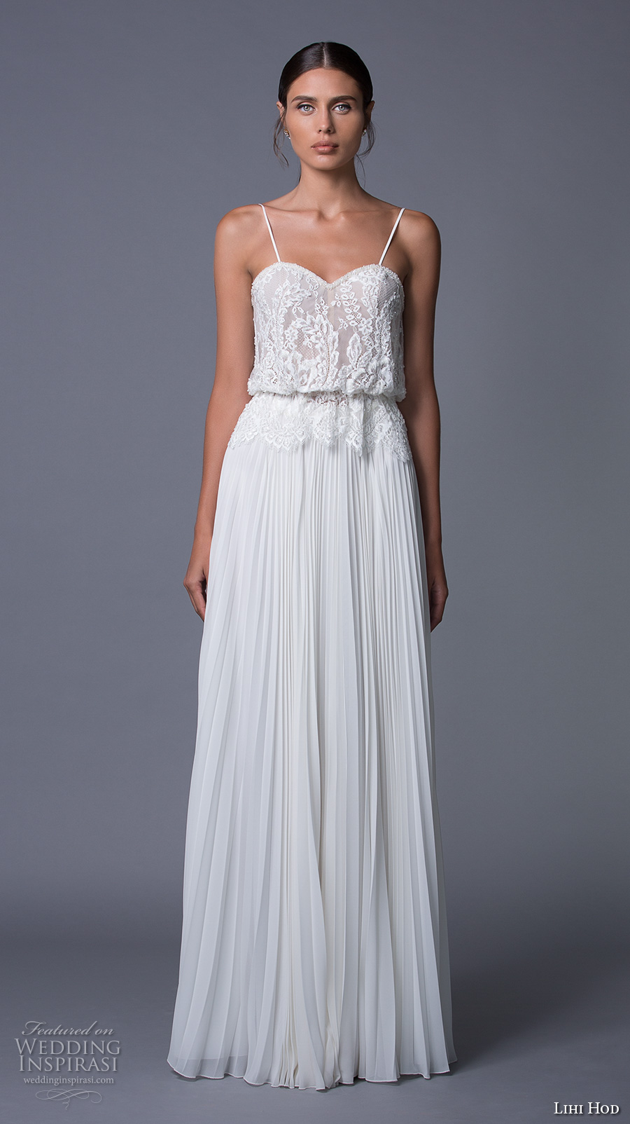 lihi hod 2017 bridal spagetti strap heavily embelished bodice pleated skirt romantic a line wedding dress (nina) mv