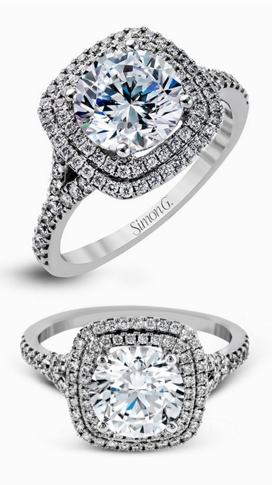 simon g gorgeous diamond engagement ring wedding band set mr2461 double halo white gold ring