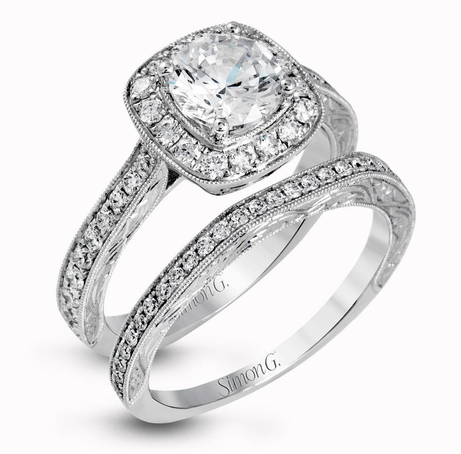simon g gorgeous diamond engagement ring wedding band set mr2693 vintage inspired milgrain edgeing halo stone setting