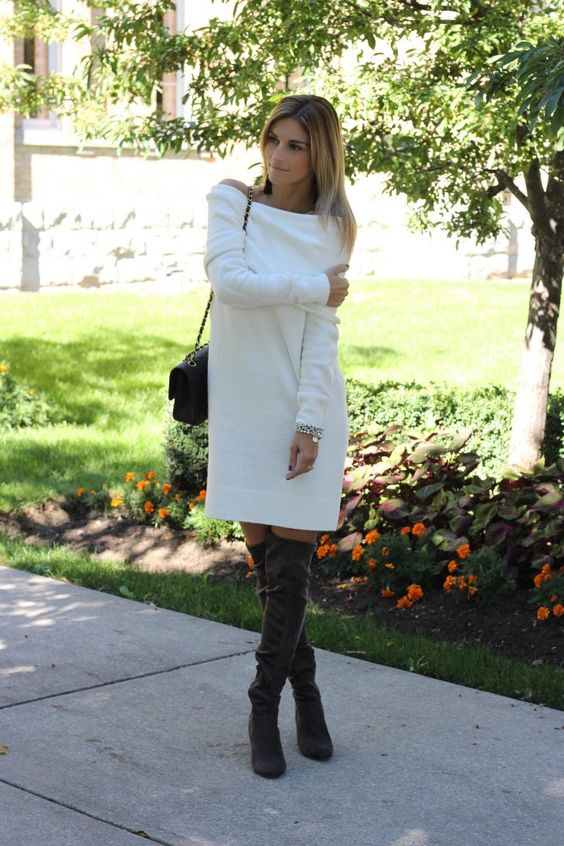 white off the shoulder dress with grey suede tall boots