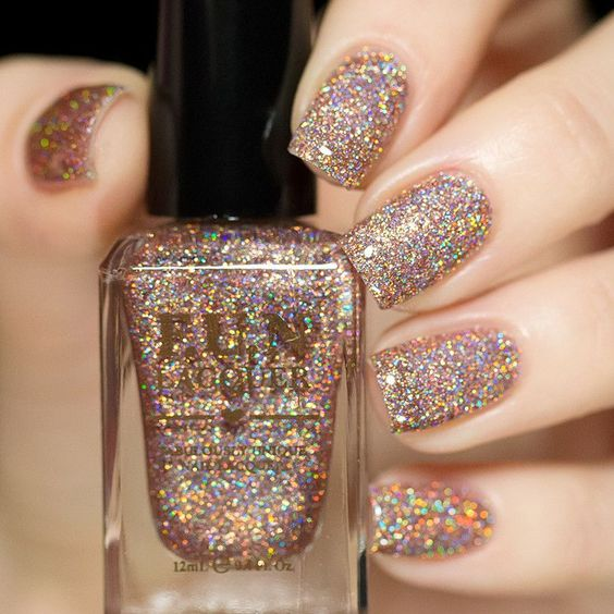 bronze holographic glitter nails
