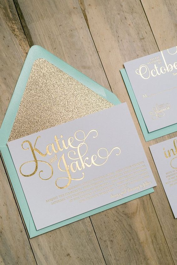 elegant mint and gold glitter calligraphy wedding invitations