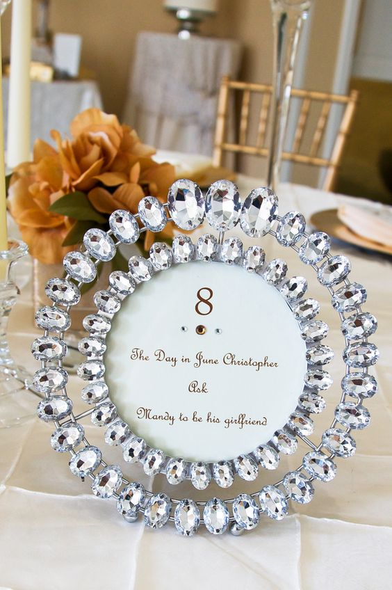 bold rhinestones in row for table numbers