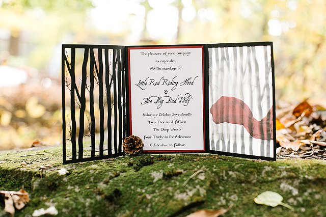 Little Red Riding Hood themed wedding invitations | SYPhotography