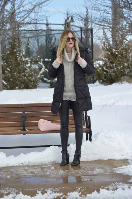 With puffer coat and skinnies