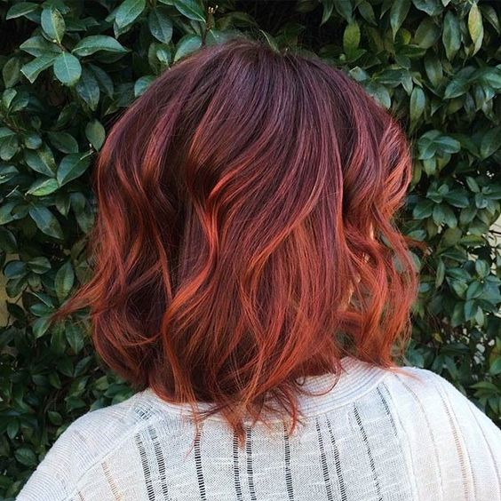dark red hair with a copper balayage effect will give you power and sex appeal