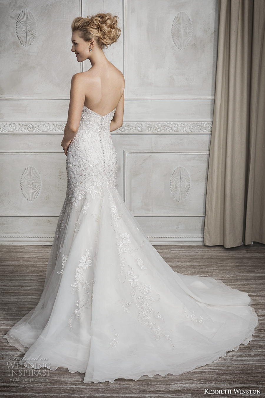 kenneth winston fall 2016 bridal strapless sweetheart neckline heavily embellished bodice glamorous elegant fit and flare wedding dress chapel train (1690) bv