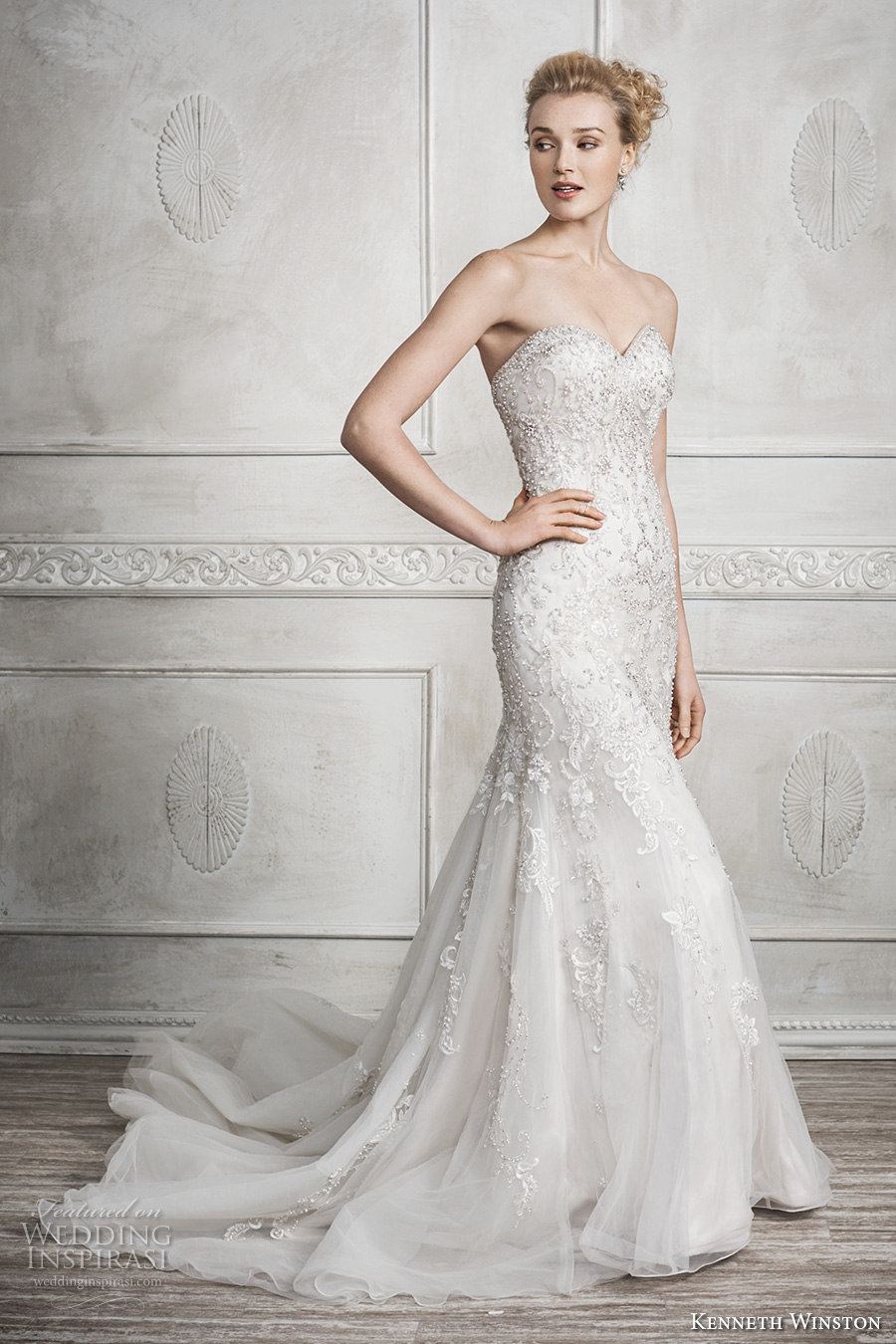 kenneth winston fall 2016 bridal strapless sweetheart neckline heavily embellished bodice glamorous elegant fit and flare wedding dress chapel train (1690) mv