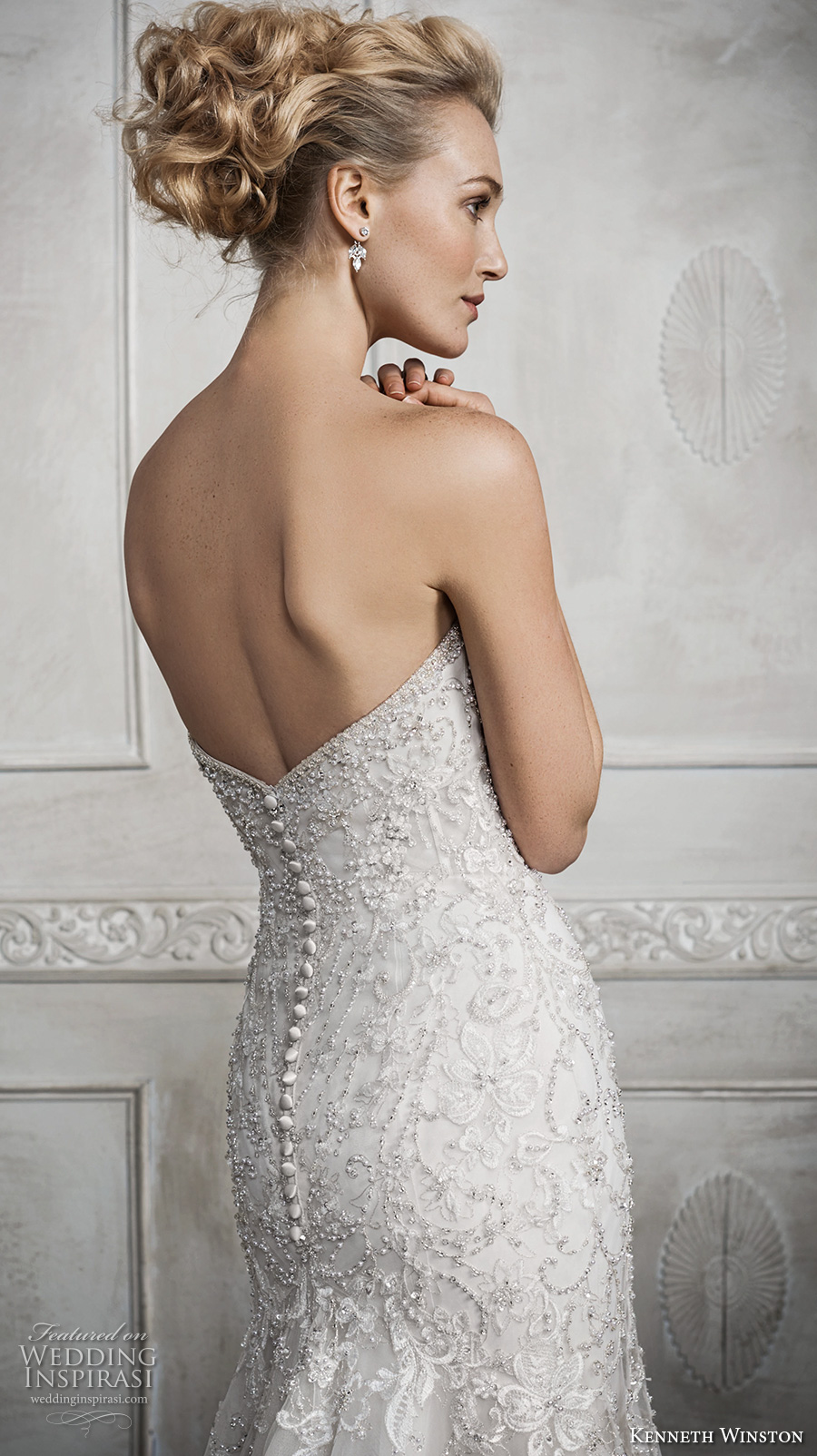 kenneth winston fall 2016 bridal strapless sweetheart neckline heavily embellished bodice glamorous elegant fit and flare wedding dress chapel train (1690) zbv