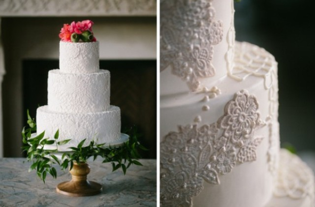 Look at the stunning lace cake topped with flowers - what can be more romantic than that