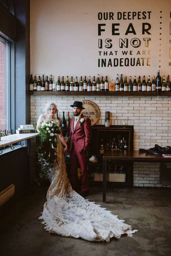 Alyssa and Giuseppe married at Bar Marco and it was an edgy vintage industrial wedding