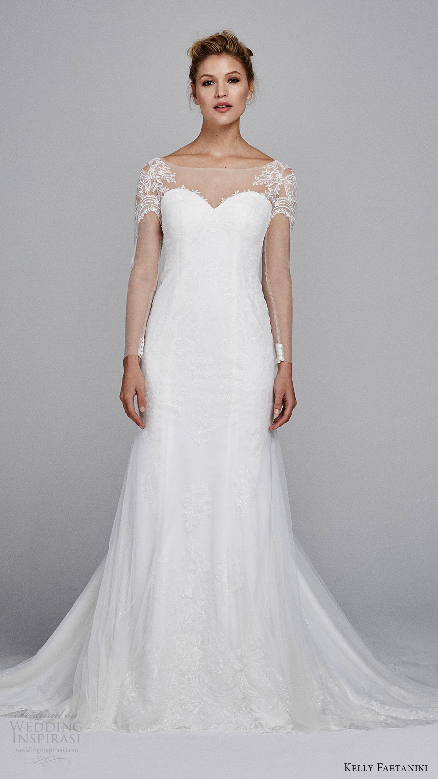 kelly faetanini bridal fall 2017 illusion long sleeves sweetheart trumpet lace wedding dress (delphine) mv train