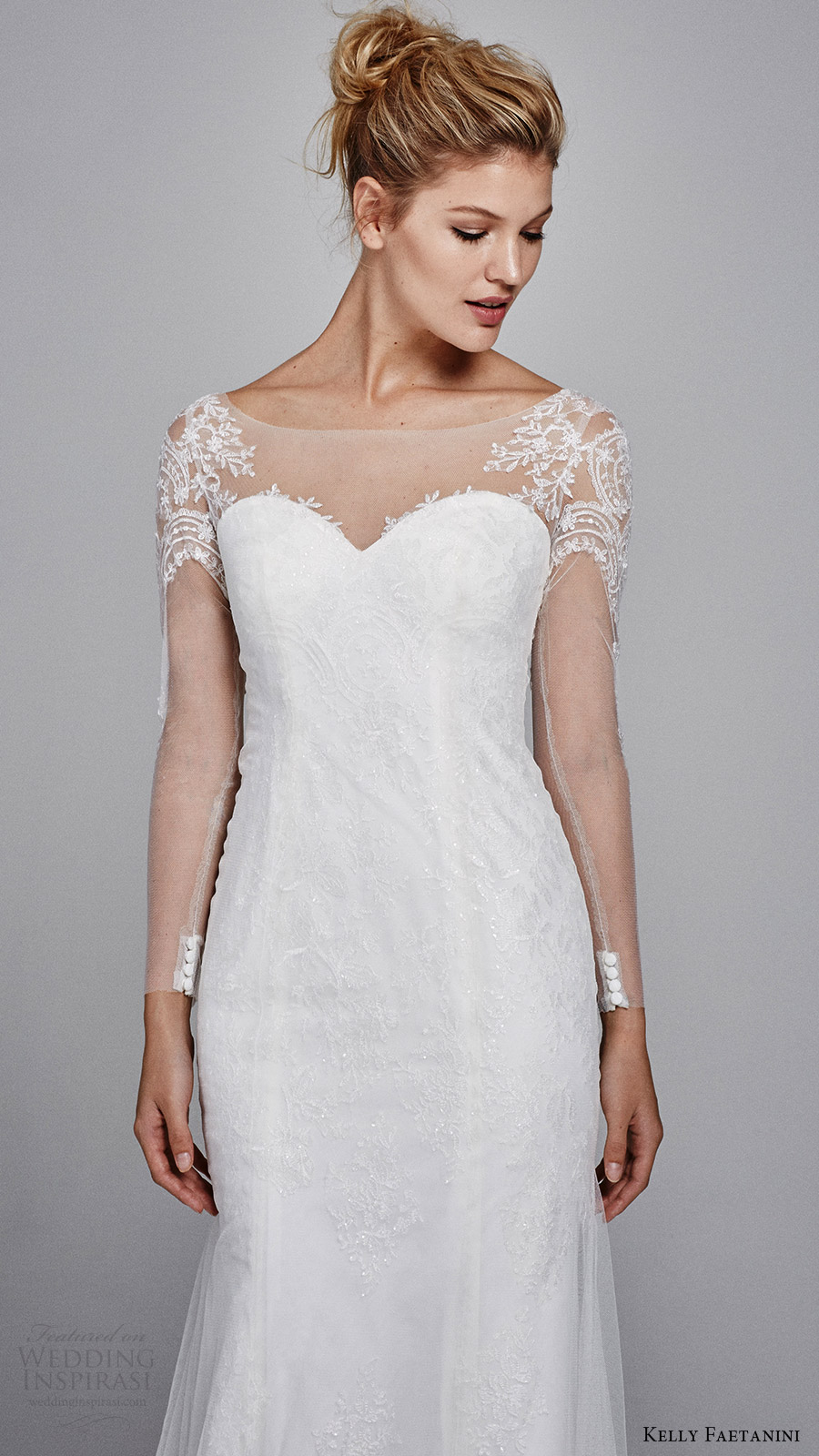 kelly faetanini bridal fall 2017 illusion long sleeves sweetheart trumpet lace wedding dress (delphine) zv bodice embroidery