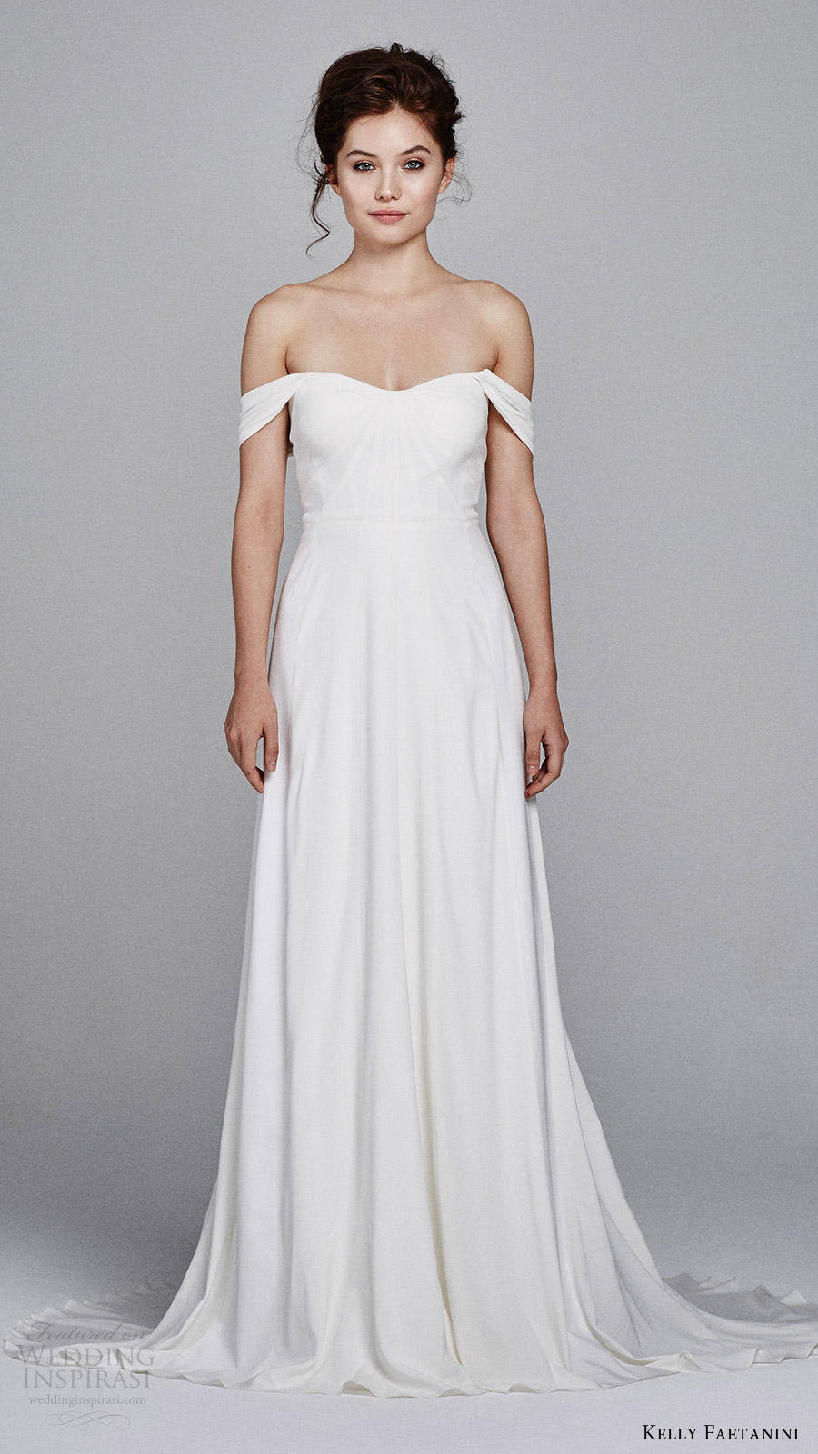 kelly faetanini bridal fall 2017 off shoulder semi sweetheart soft aline silk french crepe wedding dress (blossom) mv