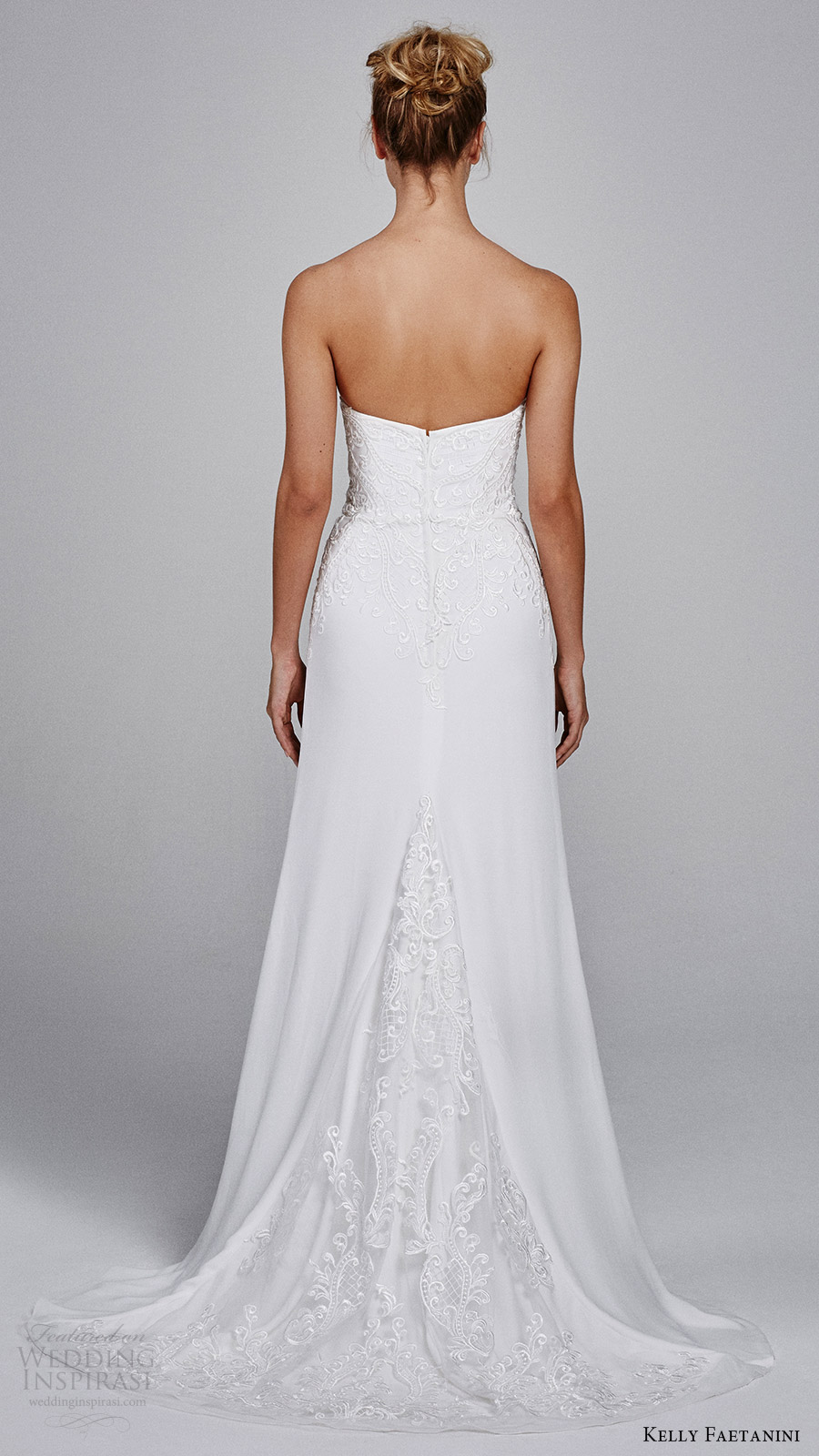 kelly faetanini bridal fall 2017 strapless sweetheart embroidery soft aline wedding dress (clover) bv train
