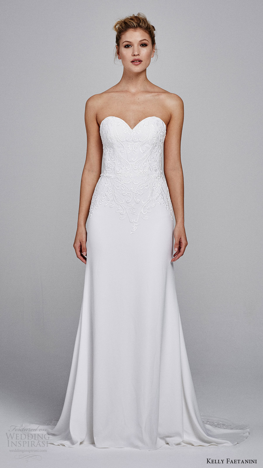 kelly faetanini bridal fall 2017 strapless sweetheart embroidery soft aline wedding dress (clover) mv train