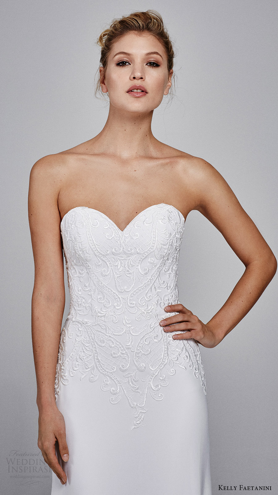 kelly faetanini bridal fall 2017 strapless sweetheart embroidery soft aline wedding dress (clover) zv