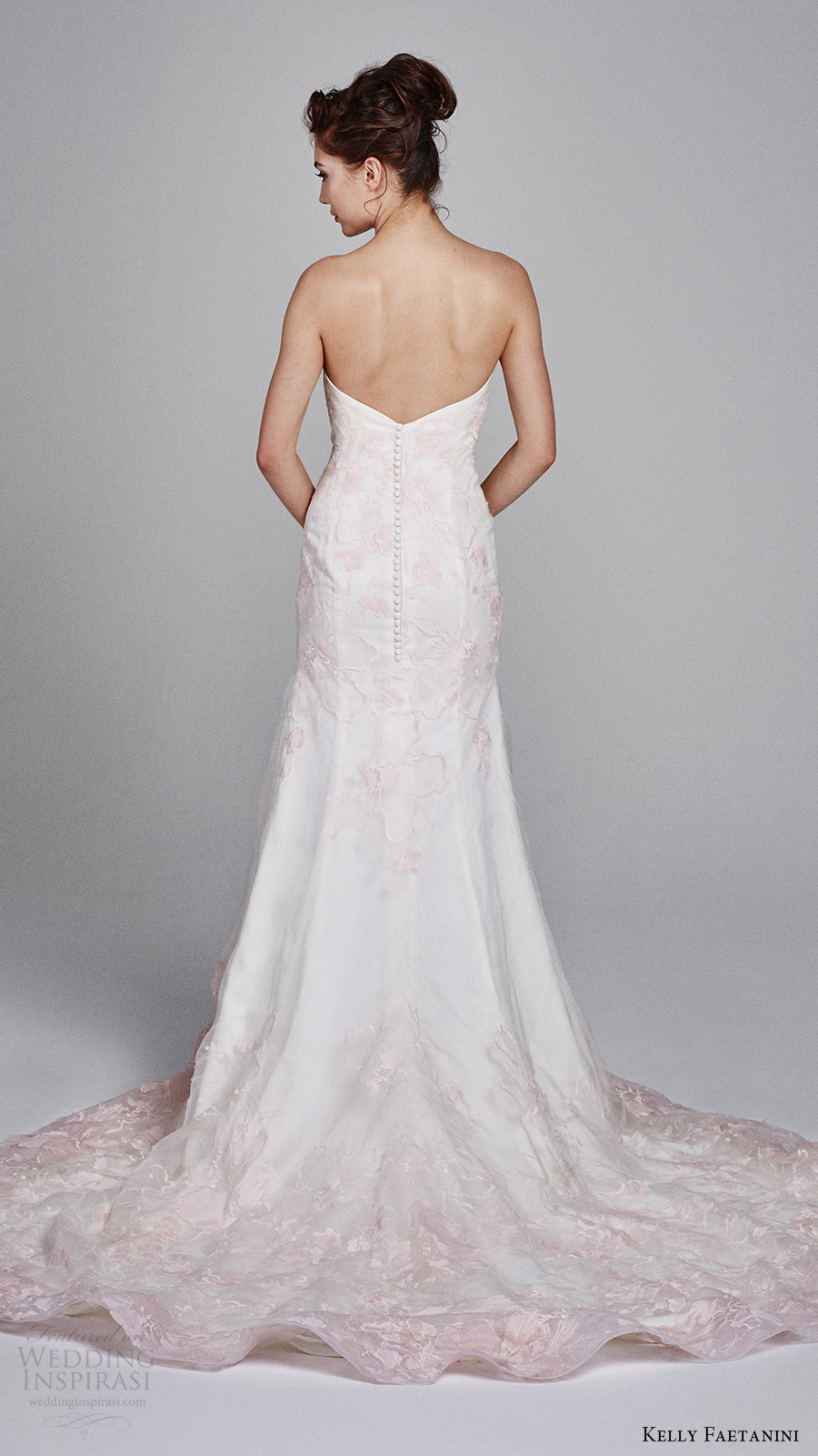 kelly faetanini bridal fall 2017 strapless sweetheart trumpet wedding dress (cherie) bv blush pink embroidery back buttons train